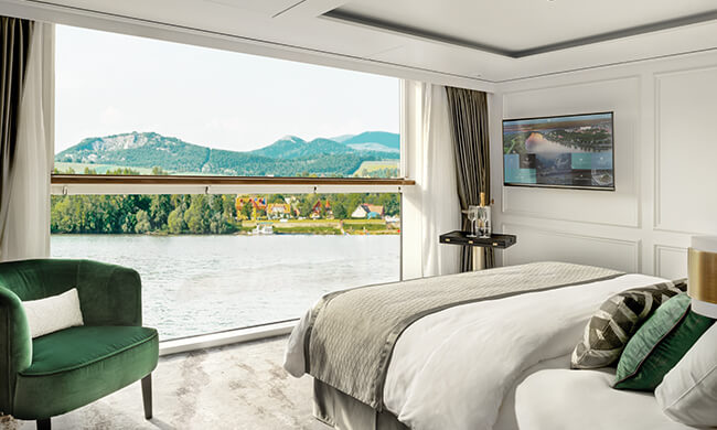 king sized bed - scenic bedroom views - crystal cruises